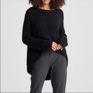 Eileen Fisher Chunky Knit High-Low Sweater Black M